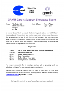 GAMH Carers Support Showcase Event Flyer